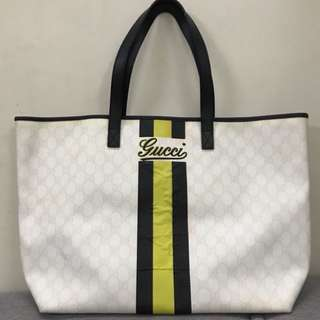 Authentic Gucci White Monogram Striped Canvas Tote