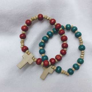 Wood Rosary Bracelet in Red and Blue