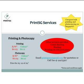 Cheapest Colour Printing in SG