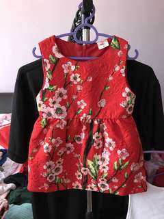 Red floral dress size 1-2y