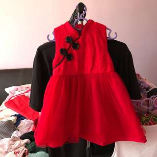 Cheongsam dress tutu red size 2-3y
