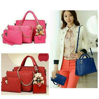 4 IN 1 - Fashion Handbag Set + Teddy Bear