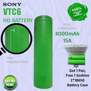 Sony VTC6 US18650VTC6 3000mAh 15A Flat Top 18650 Battery - 18650 Battery