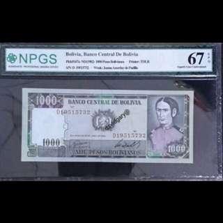 BOLIVIA 1982 1000 PESOS BOLIVIANOS S/N D 19515732 GRADED