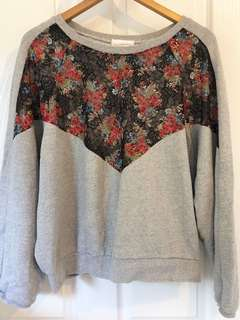 Grey Floral Detail Sweater