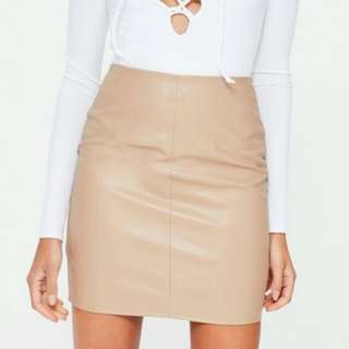 Tan faux leather mini skirt