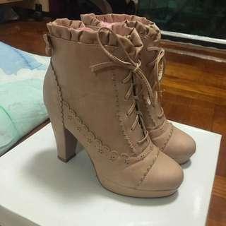 Liz Lisa cute ribbon pale Pink faux leather boots