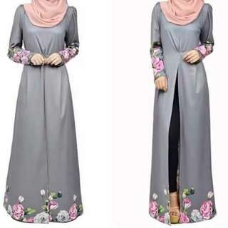 Hijaber Muslimah Long Sleeve Abaya Blouse And Free Black Pant set