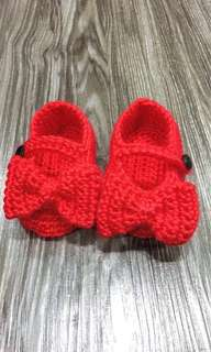 Crochet Red Mary Jane Bow Booties