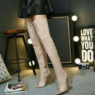 Super Star Style Bandage Knee High Boots For Women