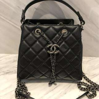 Chanel Accordion Small Bucket Bag in Black Caviar with RHW