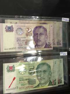 Singapore portrait series 0AA banknotes