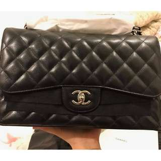 Brand New Chanel Jumbo Double Flap Black Caviar SHW