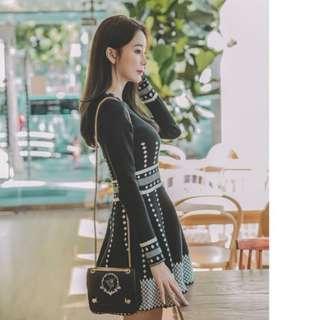 🚚 韓版韓國東大門連線名媛風氣質針織傘擺長袖洋裝