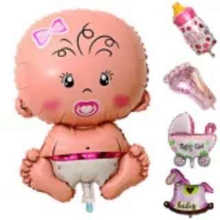 Baby Girl Holliday Decoration Foil Balloons stroller