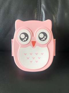 Pink Owl Lunch Snack Fruits Sandwich Box