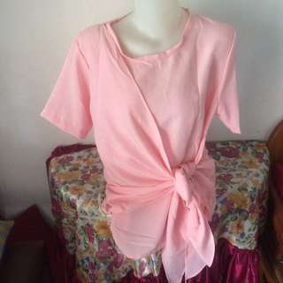 Blouse ikat pink pastel