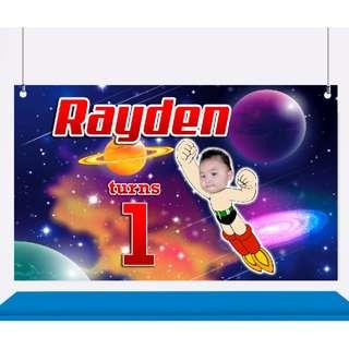 Astro Boy Birthday Customized Banner, Backdrop, Bunting