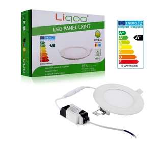 101.Liqoo 6W LED Round Panel Recessed Ceiling Light , Ultra Slim Downlight Lamp with Transformer , Warm White 3200K 450 Lumen , 40W Equivalent
