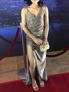 FOR RENT: LONG SILVER GOWN