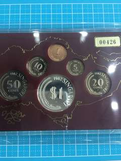 🌟Sale🌟Singapore Silver Proof Coin Set 1 Cent To $1 year 1982 Rare Low Number Cert 00426