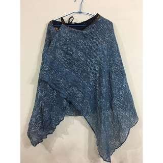 🚚 泰國購入 藍染感異國風紗質綁帶片裙