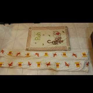Winnie The Pooh Baby Cot Bumper and Foam Mattress