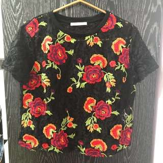Zara brand new flora lace top
