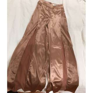 Meshki Boutique Rose Gold Satin Palazzo Pants