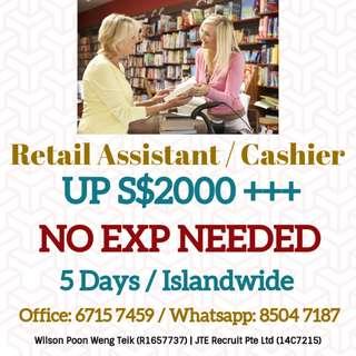 Retail Assistant / Cashier X 30 (Islandwide / NO EXP NEEDED)