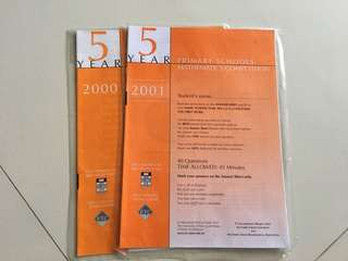 UNSW Primary Schools Mathematics Competition P5 2000-2001