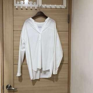 全新韓貨 義大利設計師款100%純棉開領白色上衣