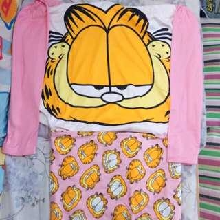 5XL Garfield 加菲貓 長袖睡衣套裝 加大碼