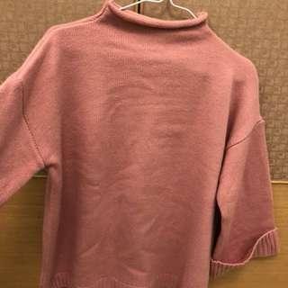 🚚 粉色厚針織寬袖