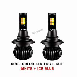 HB3 HB4 9005 9006 Dual Color Led Fog Light   ★White 6.5k ★Off & On Fog Light Switch      Change To Ice Blue 8k  ★White & Ice Blue All In One Bulb  ★New Design  ★Plug & Play  ★2600 Lumens Per Bulb ★New 30/30 Led Chip ★Ultra Bright   In Stock