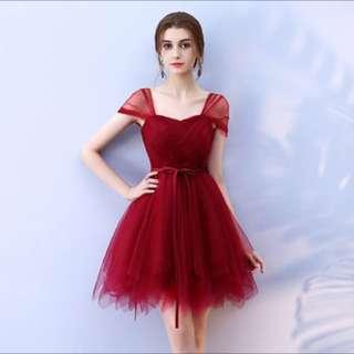 雙包肩蓬蓬禮服連衣裙 伴娘團姐妹裙小禮服 酒紅色小紗裙