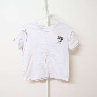 COTTON ON Star Wars Princess Leia Embroidered Cream Frill Sleeve T Shirt