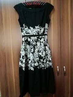 Laura Ashley Black Dress with Floral Accents