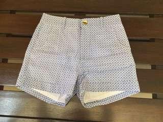 Blue Printed Cotton Shorts
