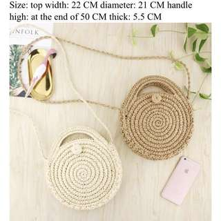 Soft knitted rattan round bag