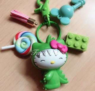 Dino kitty fob bag charm