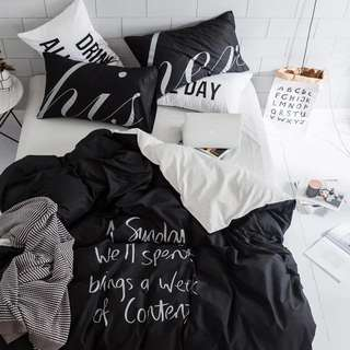 Black White Creative Cotton Fitted Bedsheet Set