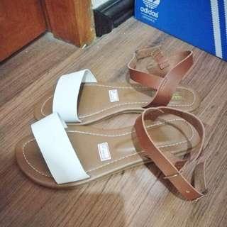 Liliw sandals - tan/white color