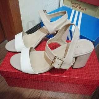 Celine cln beige white block heels