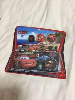 BN Disney Cars 2 stationery set, pencil case, clips eraser & sharpener