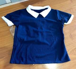 Navy Collared Shirt Top