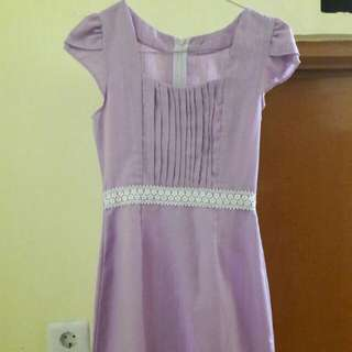 Preloved Mini Dress Katun Tebel Warna Ungu Fit to L belakang ada sleting bahan agk melar