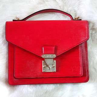 Louis Vuitton Red Monceau Epi Hand Briefcase