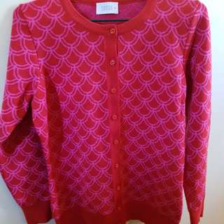 Red and pink patterned cardigan size M