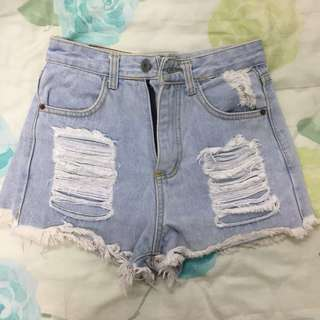 Ripped Denim Shorts